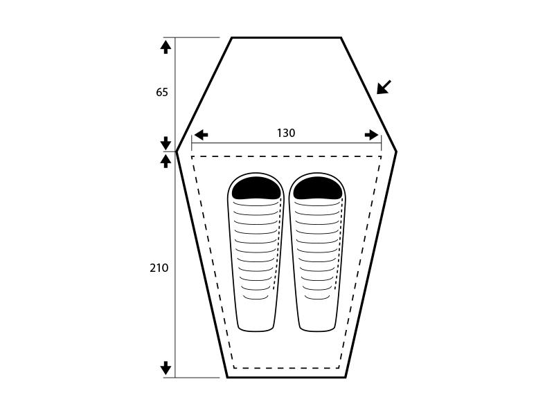 Графика - размери на двуместна палатка Trimm Himlite-DSL 2021