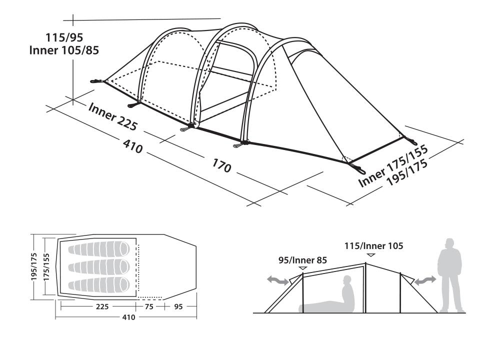 Графика размери на Триместна туристическа палатка Robens Voyager 3EX