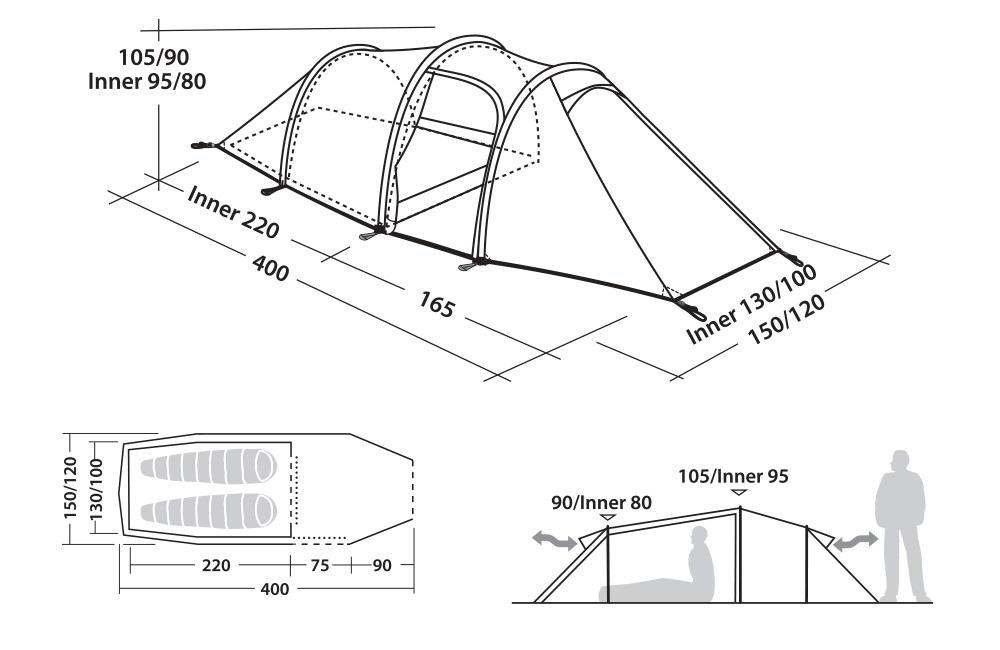 Графика с размери на Двуместна туристическа Палатка Robens Voyager 2EX