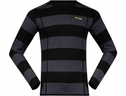 Bergans Fjellrapp Merino Wool Base Layer Shirt Solid Charcoal/Black Striped/Waxed
