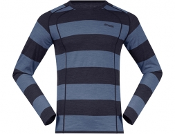 Bergans Fjellrapp Merino Wool Base Layer Shirt Dark Navy Fogblue