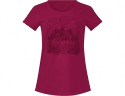 Дамска тениска Bergans Mountain View W Tee Beet Red 2020