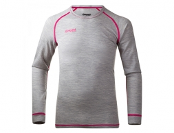Детска термо блуза Bergans Mispel Girl Youth Shirt GreyMel/ Pink